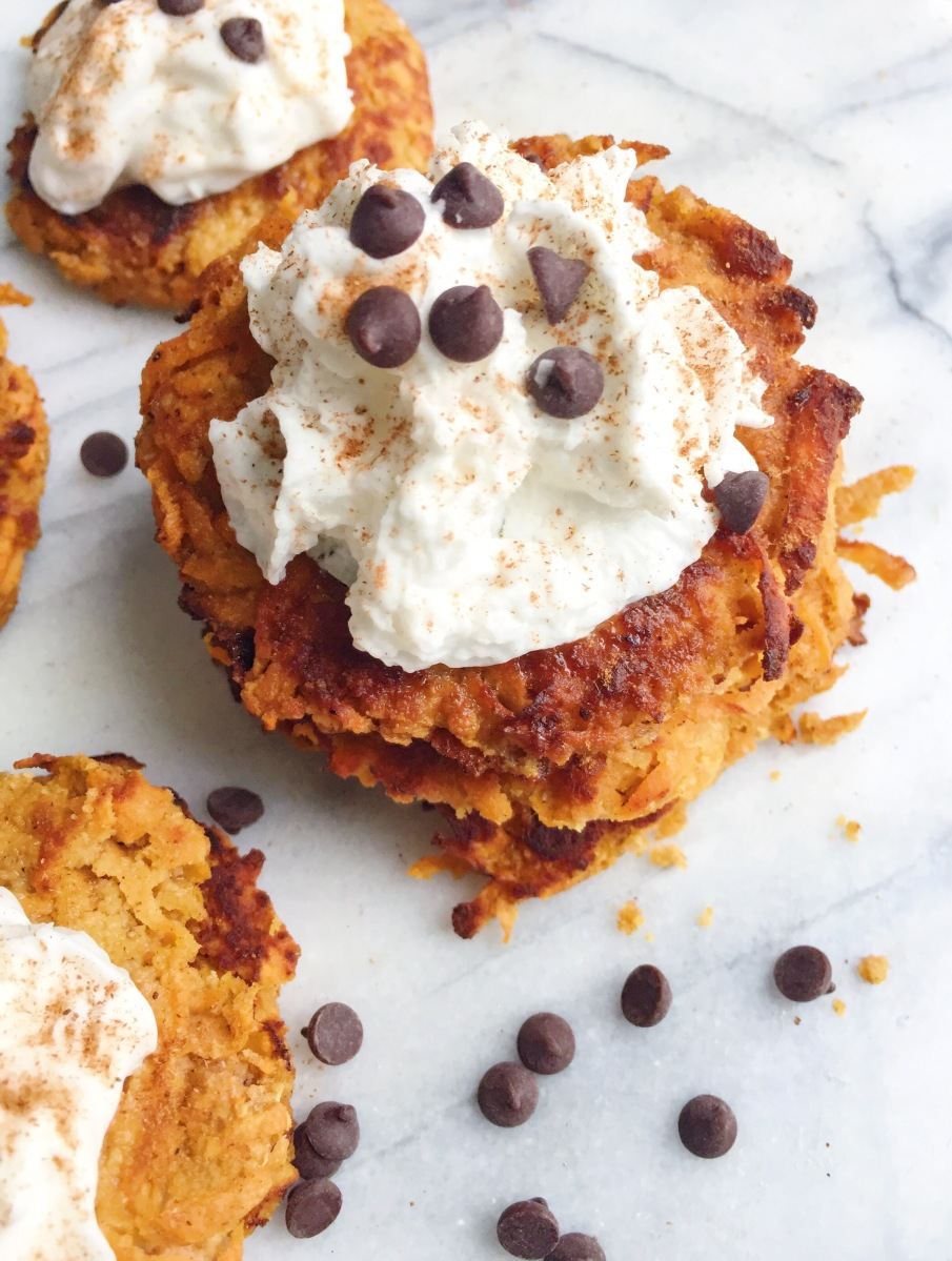 Cinnamon Spiced Sweet Potato Fritters with Coconut Whipped Cream