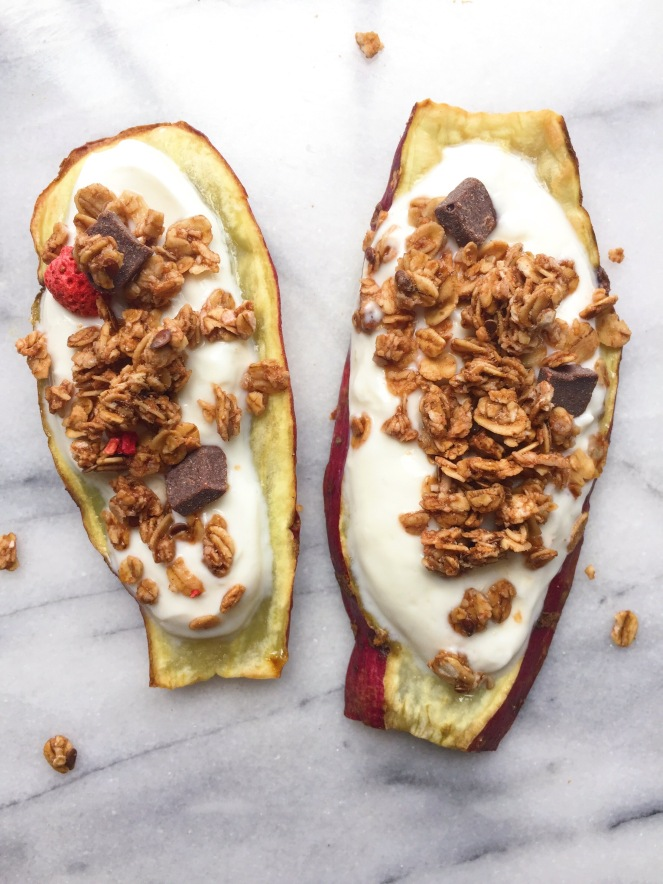 yogurt and granola sweet potato toasts 2