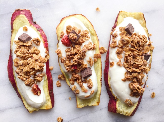 yogurt and granola sweet potato toasts